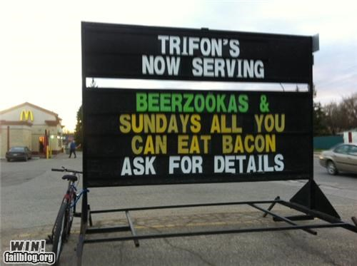 bacon,combination,marquee,sign