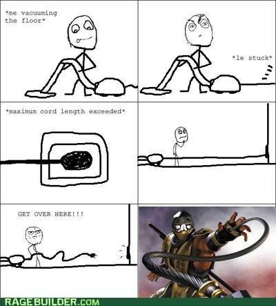 chores,Mortal Kombat,Rage Comics,vacuuming