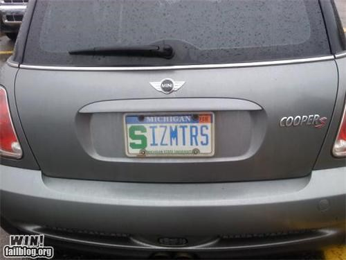cars clever license plate oh i get it sexual innuendo size wink wink nudge nudge - 4800423936