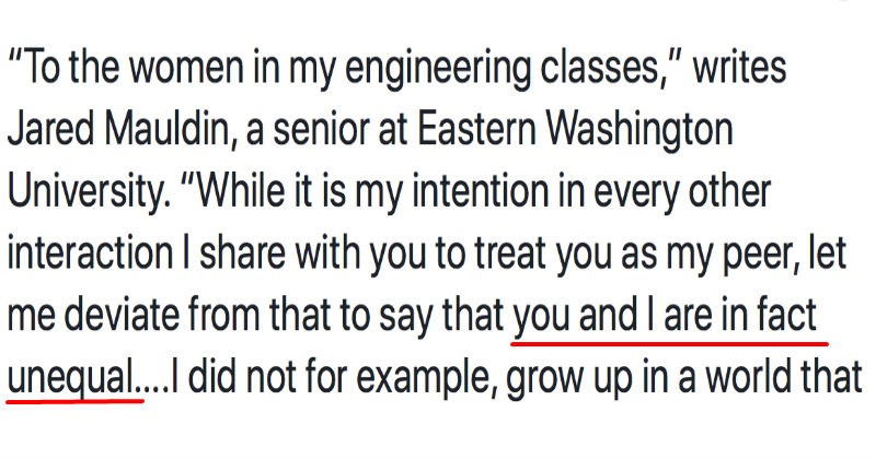 Male engineering student writes a letter describing why his female classmates aren't his equals.