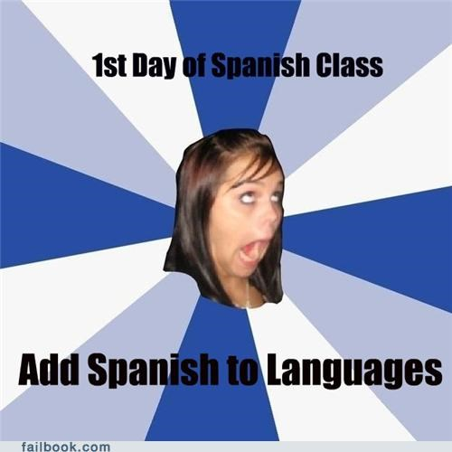 annoying facebook girls languages meme spanish