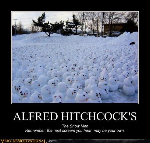alfred hitchcock,hilarious,scream,snowmen,winter