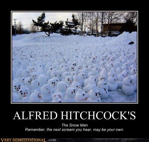 alfred hitchcock hilarious scream snowmen winter - 4802557952