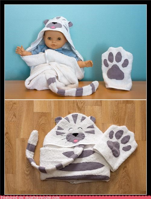 baby cat hood kitty mitt paw tail towel wrap - 4802654720
