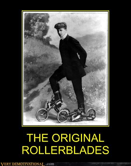bicycle hilarious invention old timey rollerblades shoes wtf - 4802759168