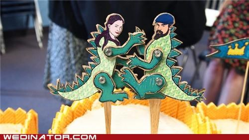 bridezilla,cake toppers,funny wedding photos,godzilla