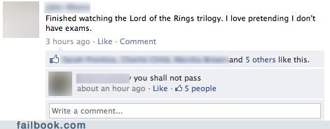 Lord of the Rings school witty reply