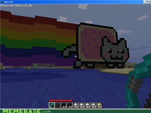 minecraft,Nyan Cat,pixels,video games