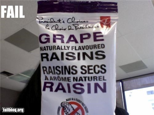 Really now? Grape Flavored Raisins eh?