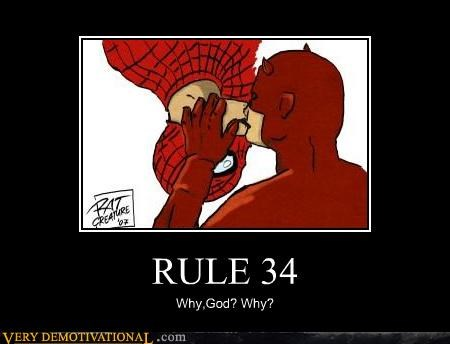 daredevil,hilarious,kissing,Rule 34,Spider-Man,wtf