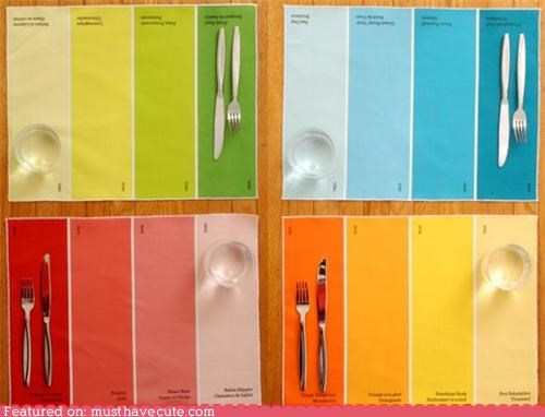 accessories colorful dining kitchen paint chips placemats - 4805945856