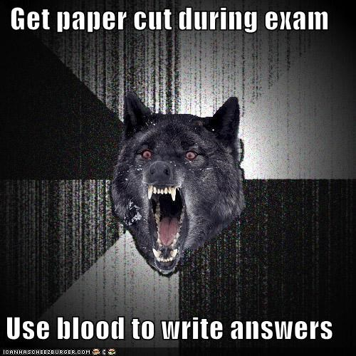 Blood exam Harry Potter Insanity Wolf paper cut writing - 4806337536