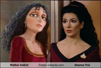 deanna troi,Marina Sirtis,mother gothel,Star Trek,tangled