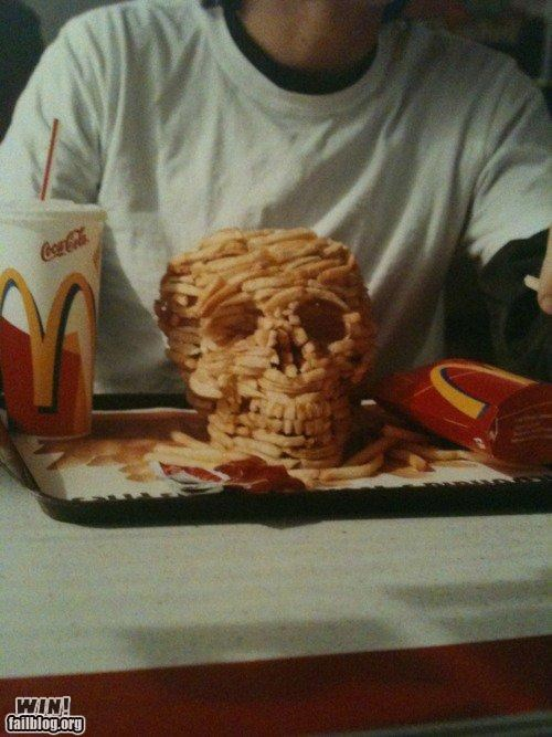 food,french fries,McDonald's,sculpture,skulls