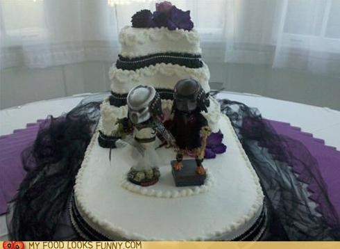black tulle bride and groom cake cake toppers Predator wedding - 4808649216