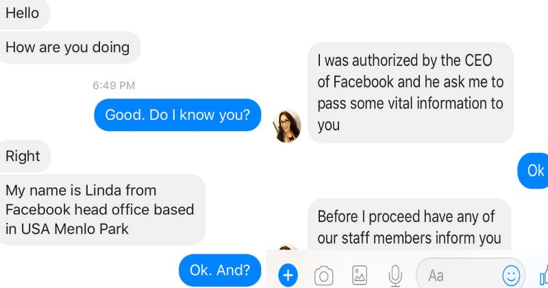 Facebook scammer gets a taste of their own medicine after they get trolled back.