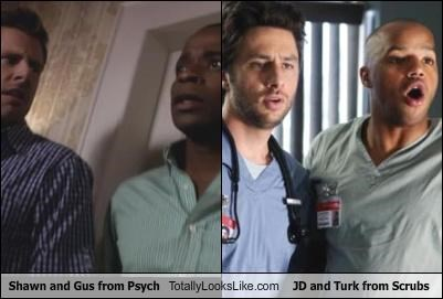 Shawn and Gus from Psych Totally Looks Like JD and Turk from Scrubs