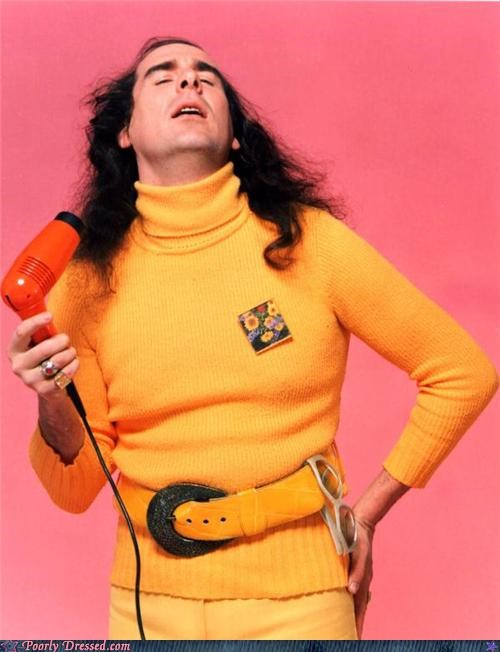 blow dryers,hair,turtleneck,yellow