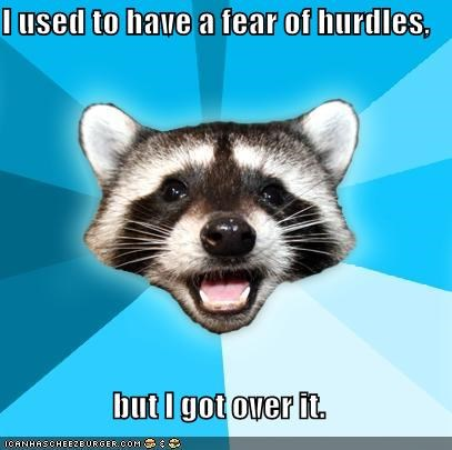 fear hurdles Lame Pun Coon sports track - 4817408256