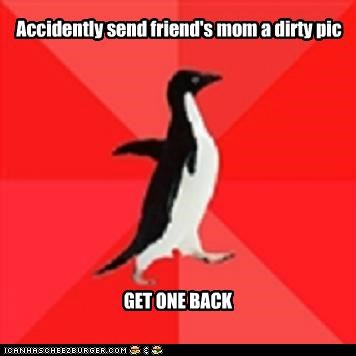 friend,impromptu,mom,sleepover,socially awkward penguin,text