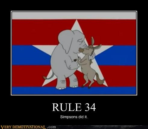Meme of the GOP elephant and DNC Donkey making out in a Rule 34 Meme