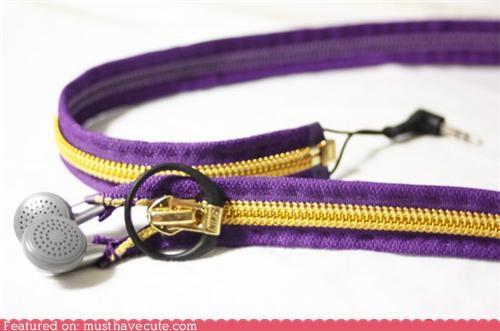 craft DIY earbuds handy headphones instructions zipper - 4818440448