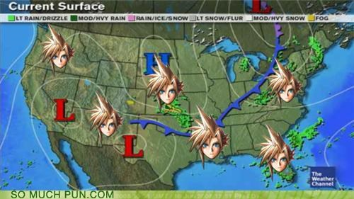 aerith barret cloud cloud strife double meaning final fantasy VII map Montana sephiroth similar sounding weather weather report - 4818582528