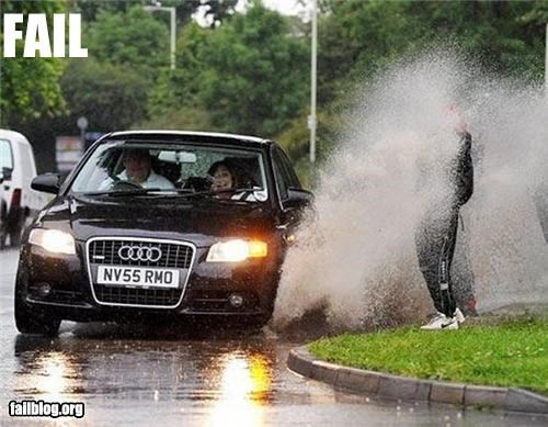 cars driving failboat g rated Pedestrian splash wet - 4818604288