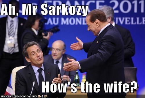 Carla Bruni-Sarkozy,Nicolas Sarkozy,political pictures,silvio berlusconi
