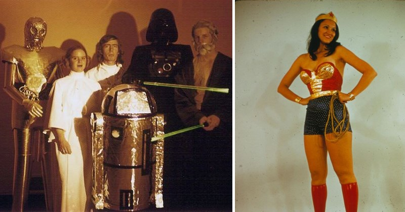 Cool vintage photos of people doing cosplay, dressing up, costumes, star wars, comic books.