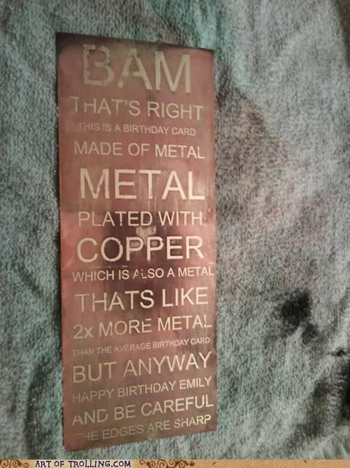 birthday,card,copper,metal