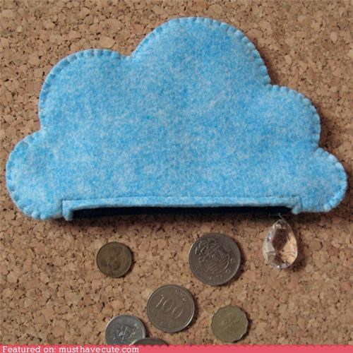 cloud coin purse crystal drop money rain zipper