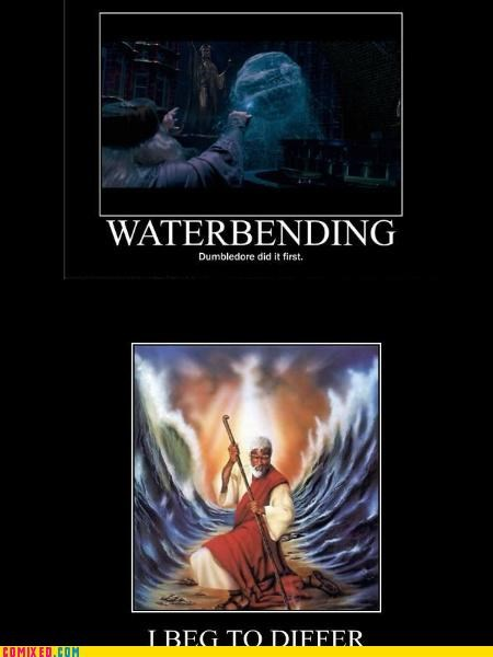 dumbledore,Harry Potter,moses,red sea,the internets,waterbending