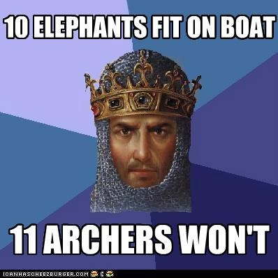 age of empires,archers,ark,boat,elephants,Memes,noah,size limit,video games