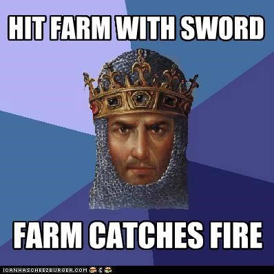 age of empires farm fire Memes swords video games - 4820974848