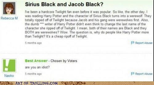Harry Potter,twilight,werewolves,Yahoo Answer Fails