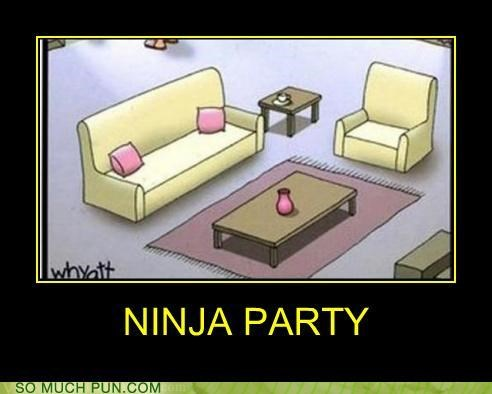 comparison Hall of Fame hiding invisible jesus ninja Party stealth theme work