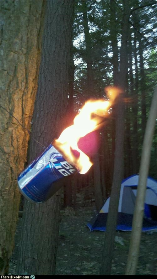 beer,beer can,bug repellent,camping,dual use,fire