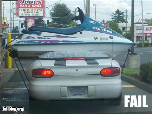 cars,convertible,failboat,g rated,jet ski,redneck,towing,transportation