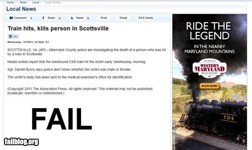 Ad Fail Train rides are more fun with fatalities!