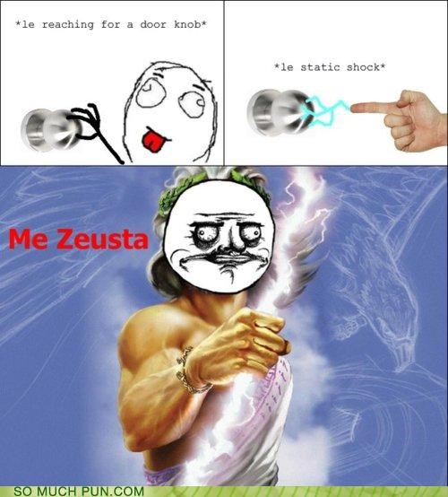 cartoons doorknob literalism me gusta rage comic Rage Comics rhyme rhyming shock similar sounding static static shock Zeus - 4822610688