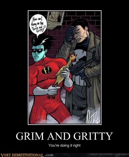 freakazoid grim gritty hilarious punisher superheroes