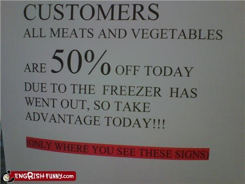 freezer,notice,sale,sign