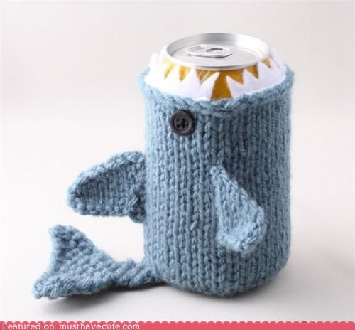 beer can eat Knitted koozie shark soda yarn - 4822704896
