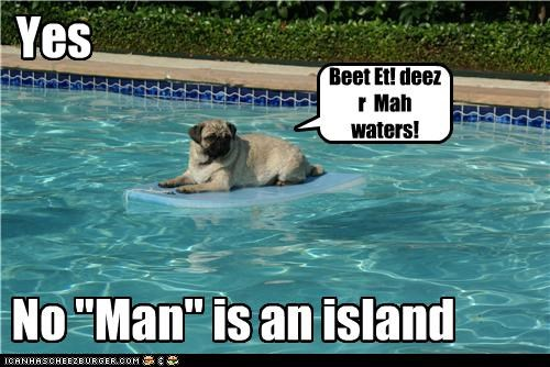 "Yes No ""Man"" is an island Beet Et! deez r Mah waters!"