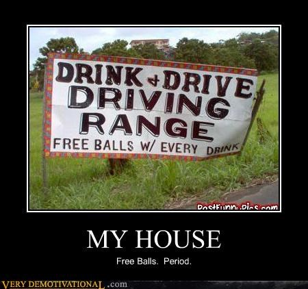 balls booze driving golf hilarious sign