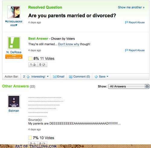batman dead divorced married parents Yahoo Answer Fails - 4823558400
