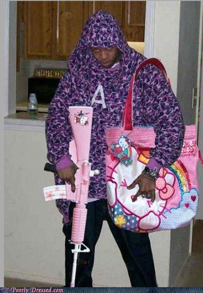 gun,hello kitty,satchel,thug