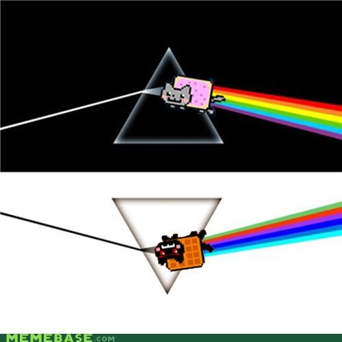 Dark Side of the Moon,mirror,Nyan Cat,pink floyd