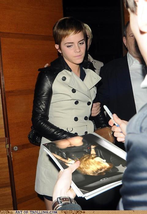 autograph,emma watson,hermione,IRL,lady bits
